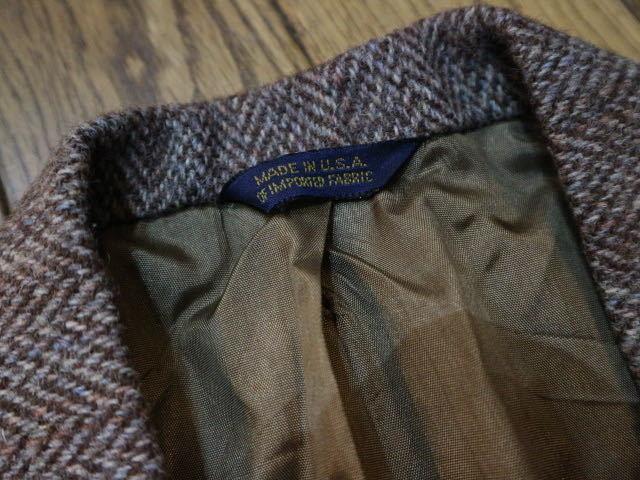 70s~ USA製 Harris Tweed ウール テーラード ジャケット ハリスツイード ブレザー_画像6