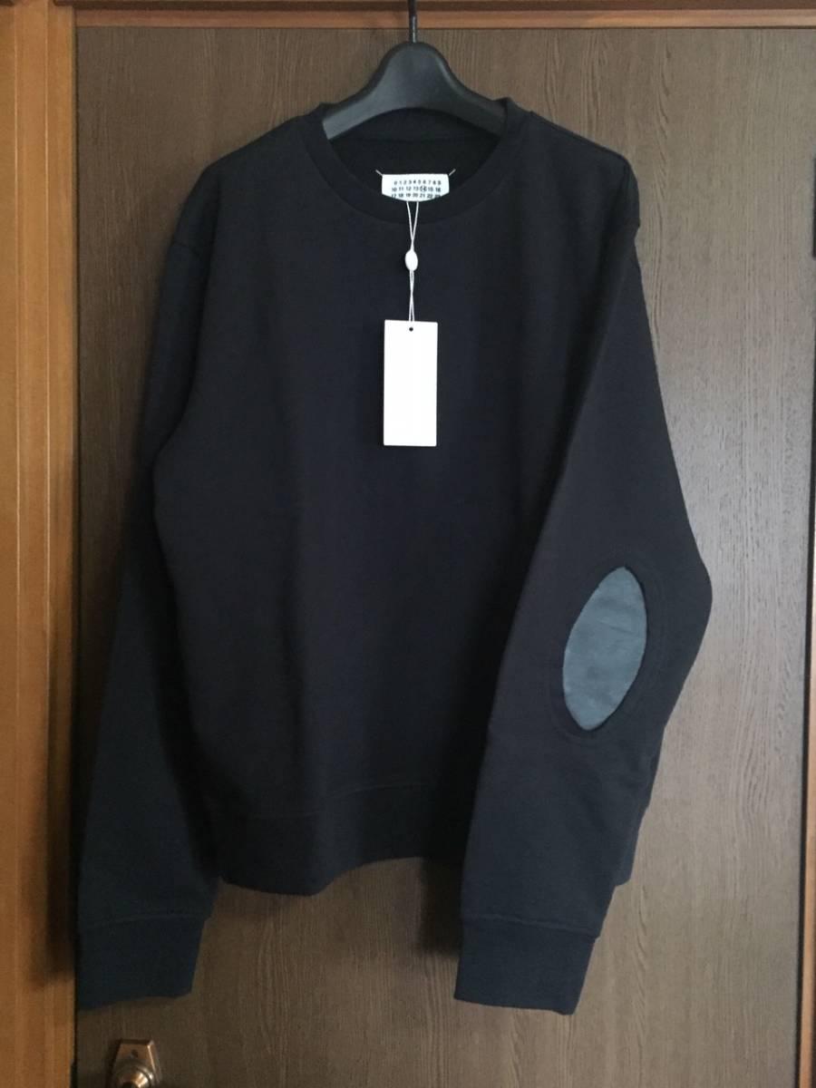 19AW新品50 メゾンマルジェラ エルボーパッチ スウェット シャツ size 50 黒 L Maison Margiela 14 マルジェラ メンズ オールブラック_画像1
