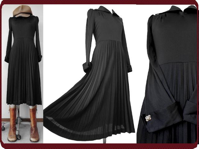 古着♪レトロ・Vintage黒無地プリーツワンピ♪ワンピース70s60s70年代60年代ヴィンテージモッズ10号クラシカルロング長袖衣装シンプル即決