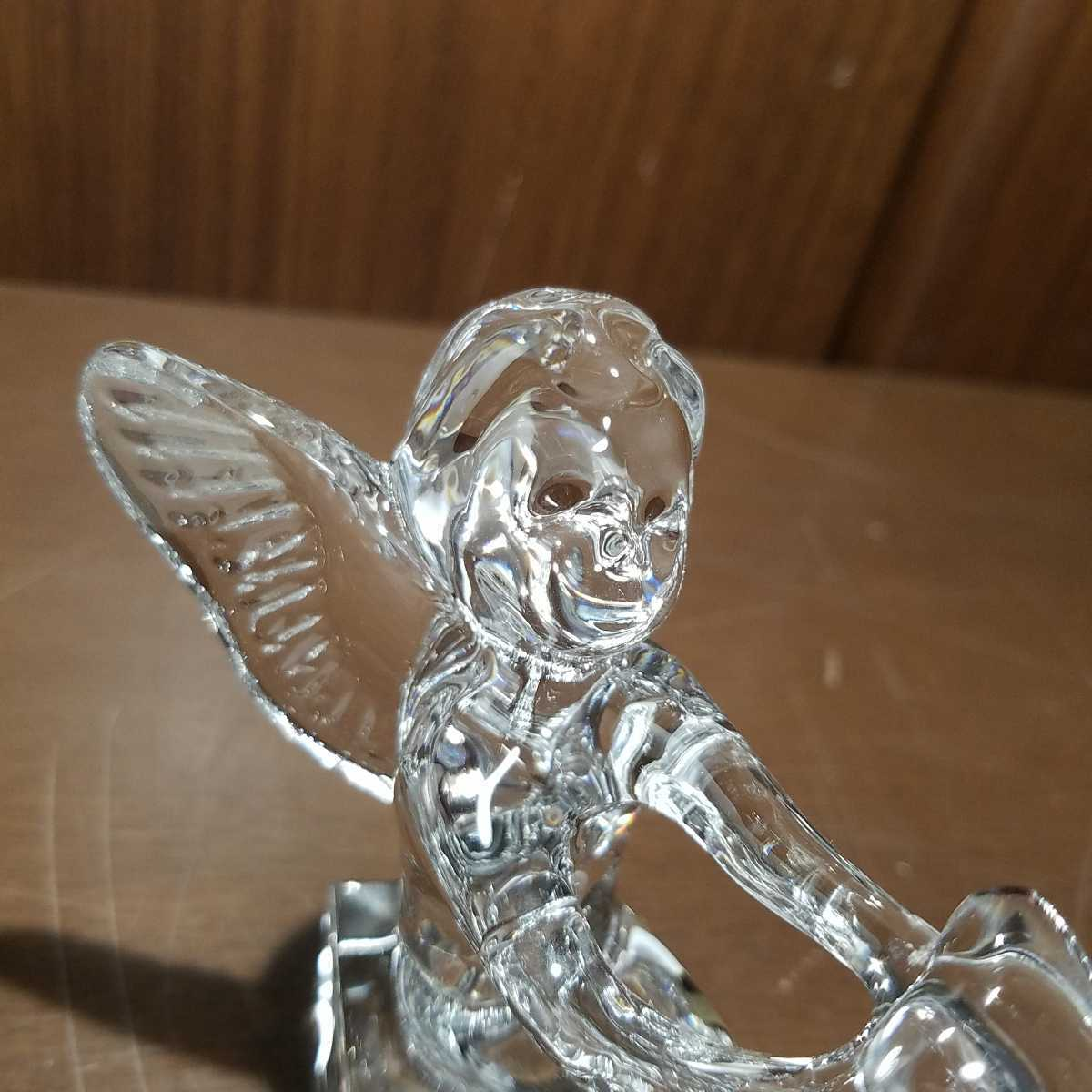 654▽同梱NG 逸品 ブランド バカラ エンジェルハート ハートを持つ天使の羽根 可愛い置き飾り物 クリスタルガラス Baccarat Angel オブジェ_画像6