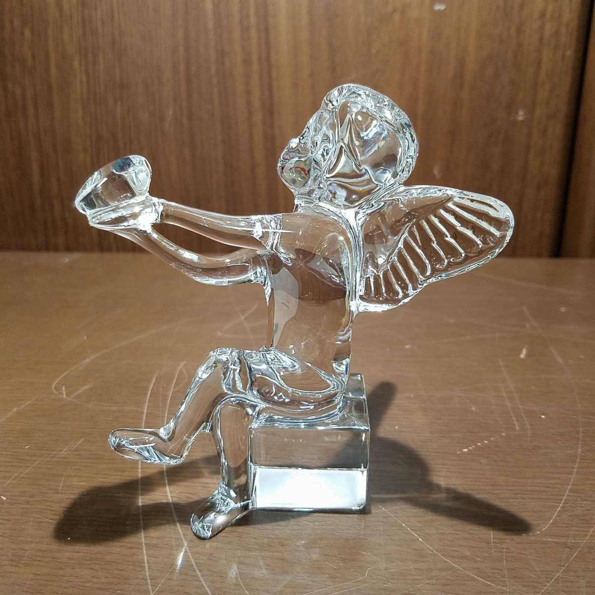 654▽同梱NG 逸品 ブランド バカラ エンジェルハート ハートを持つ天使の羽根 可愛い置き飾り物 クリスタルガラス Baccarat Angel オブジェ_画像1