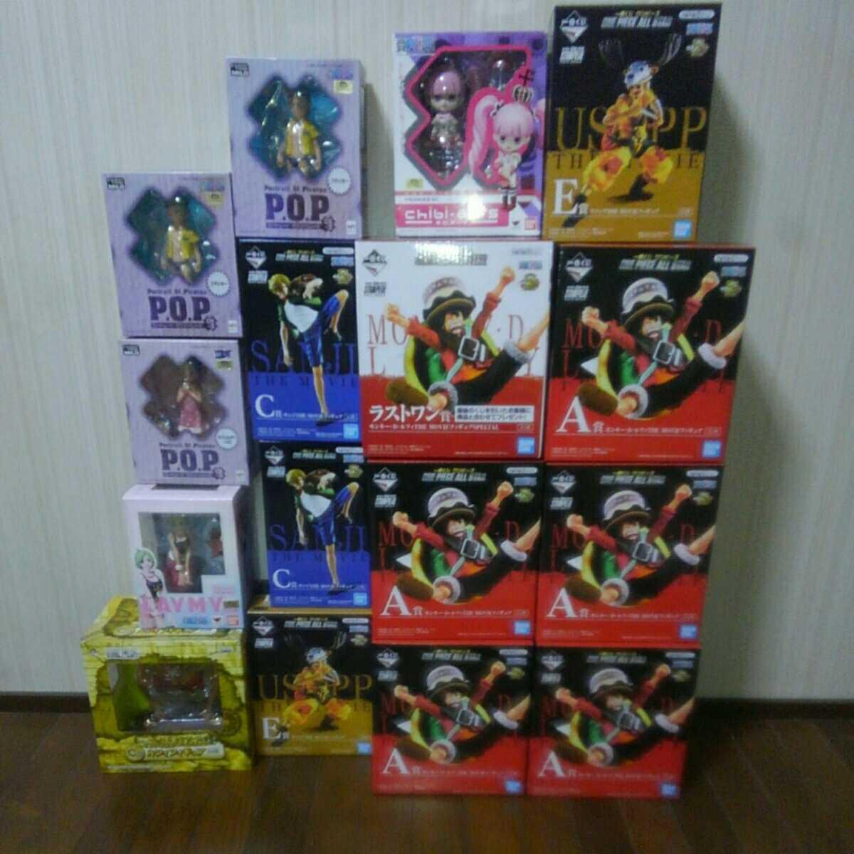 ワンピース未開封フィギュア一番くじ、POP 、チビアーツ16体まとめ売り。スタンピード、