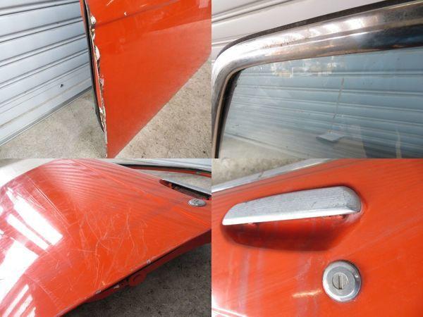 日産 純正 510 ブルーバード 4ドア フロント 左 ドア (オレンジ系) 薄青ガラス(開閉可能) 内張り 当時物 旧車 NISSAN 部品 レストア_傷サビ腐食 剥がれ