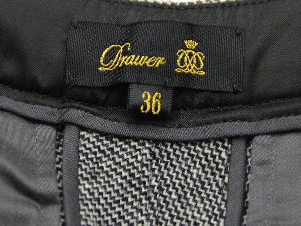 ドゥロワー Drawer ユナイテッドアローズ リブ レザーポケット パンツ 36サイズ ブラック×ホワイト レディース F-M9838_画像4