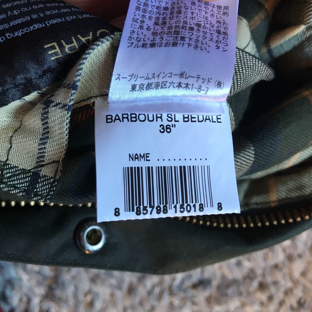 36サイズ Barbour Bedale SL バブアー ビデイル スリムフィット オイルドジャケット sage セージ 美品 オリーブ beaufort border 英国製_画像4