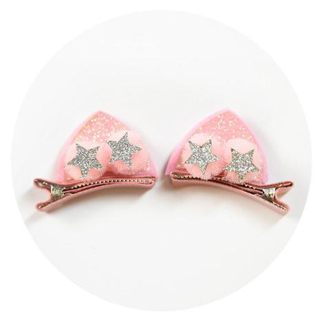 BB0006 2ピース/セットかわいい女の子のためのグリッター虹フェルト生地花ヘアピン猫耳のウサギバレッタ子供のヘアアクセサリー_画像8