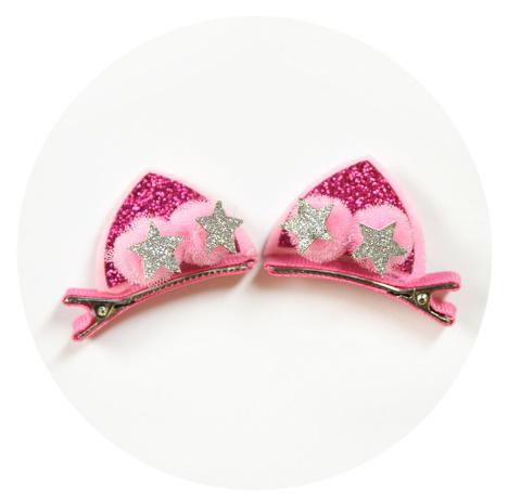 BB0006 2ピース/セットかわいい女の子のためのグリッター虹フェルト生地花ヘアピン猫耳のウサギバレッタ子供のヘアアクセサリー_画像10