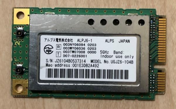 ★ノートパソコン用 内蔵型 WLan アルプス電気 UGJZ6-104B◆中古動作品