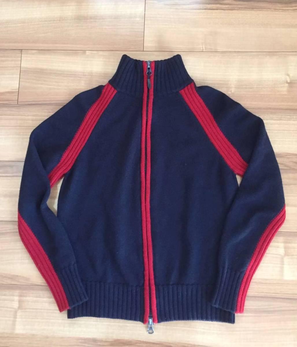 AJ アルマーニジーンズ・フルジップニットジャケット・S・ネイビー×レッド・リトアニア(欧州)製_画像1