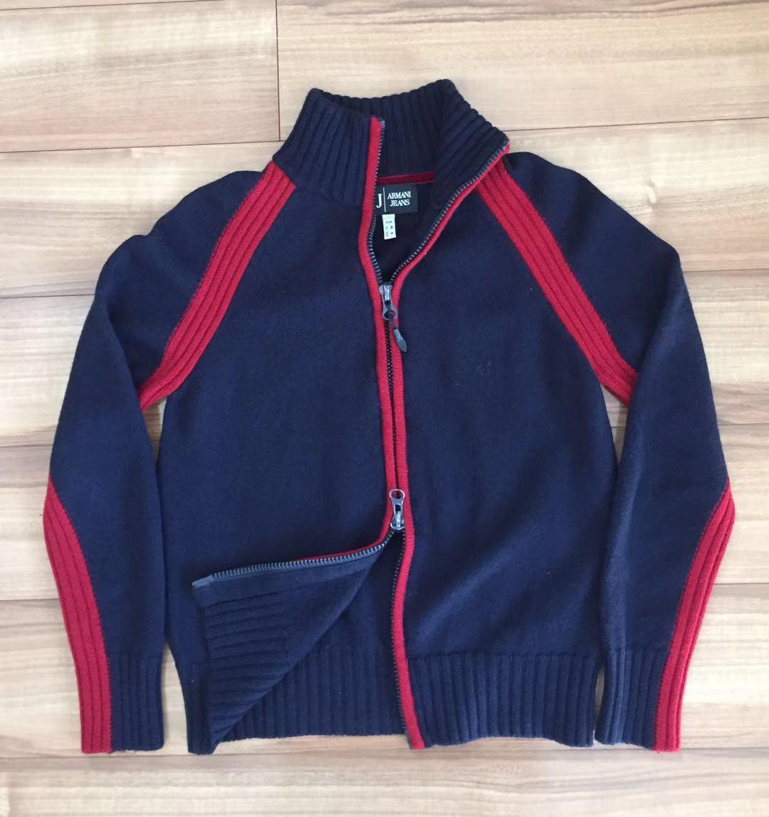 AJ アルマーニジーンズ・フルジップニットジャケット・S・ネイビー×レッド・リトアニア(欧州)製_画像2