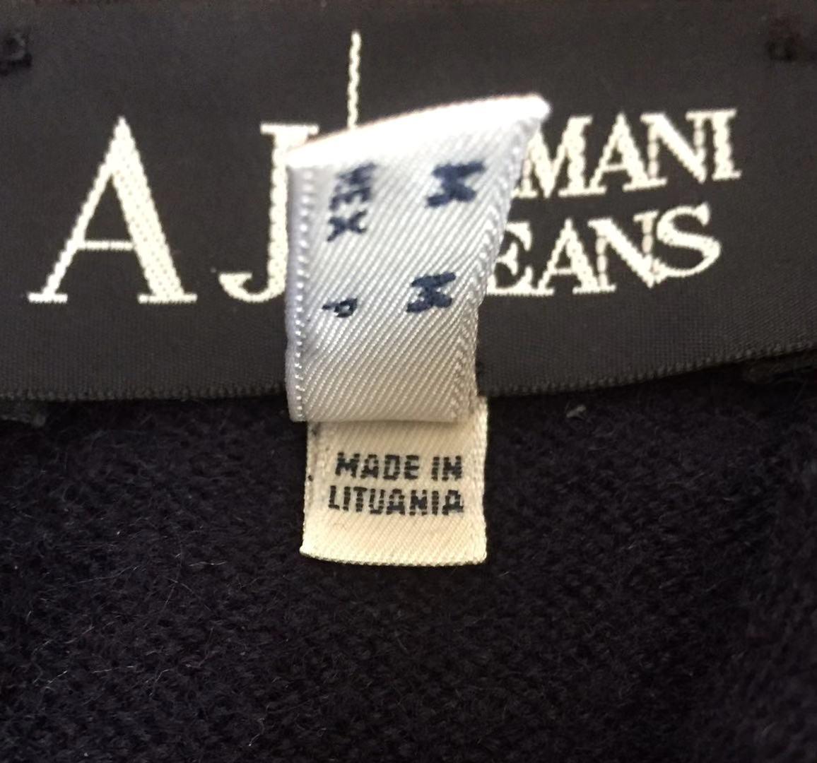 AJ アルマーニジーンズ・フルジップニットジャケット・S・ネイビー×レッド・リトアニア(欧州)製_画像6