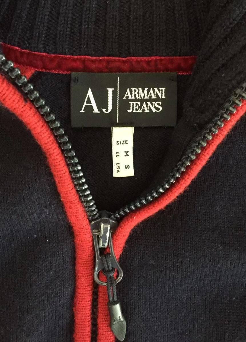 AJ アルマーニジーンズ・フルジップニットジャケット・S・ネイビー×レッド・リトアニア(欧州)製_画像4