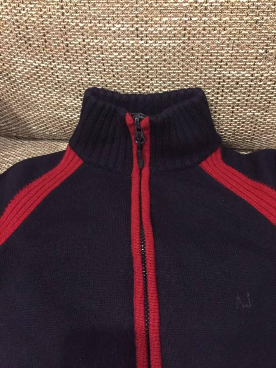 AJ アルマーニジーンズ・フルジップニットジャケット・S・ネイビー×レッド・リトアニア(欧州)製_画像3