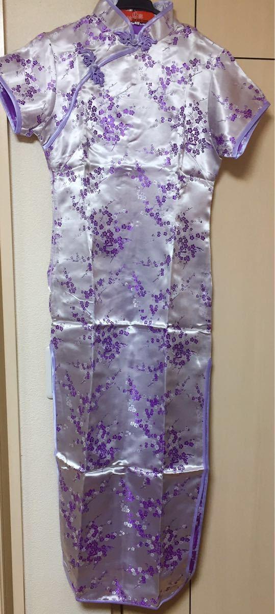 新品チャイナドレス花柄ロング_画像2