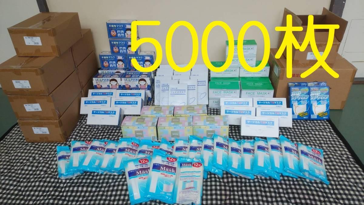 マスク 5000枚 3層構造 不織布マスク いろいろセット 白色 長期在庫 使い切り 送料無料 1円から すぐに発送出来ます