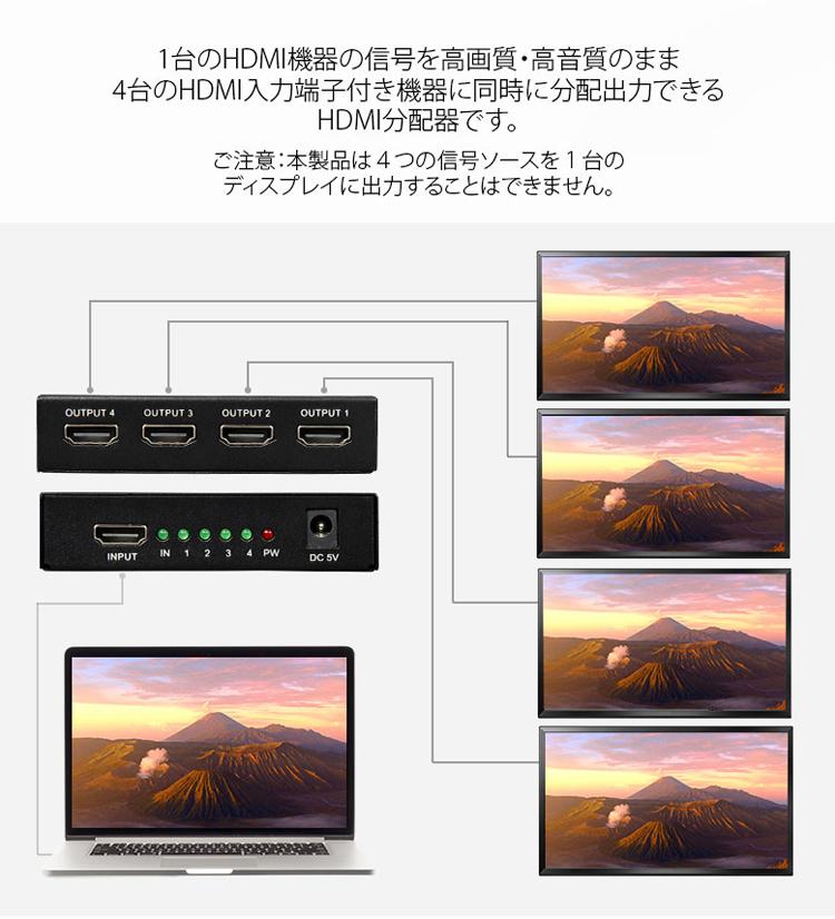 EONON HDMI信号 4画面同時分配出力機 4K/30Hz/1080P対応 4出力 1入力 HDMI分配器