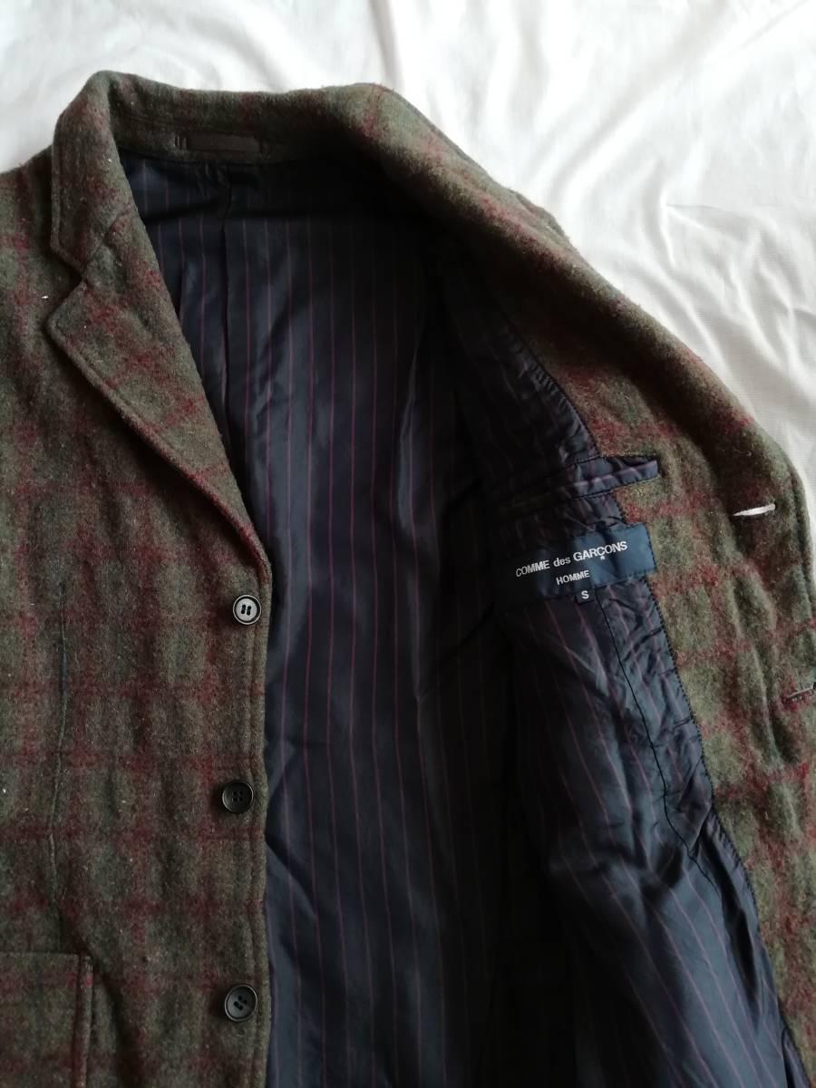 comme des garcons homme 縮絨ウール ネップ ツイード 木製ボタン ジャケット S AD2004 コムデギャルソンオム ヴィンテージ アーカイブ初期_画像4
