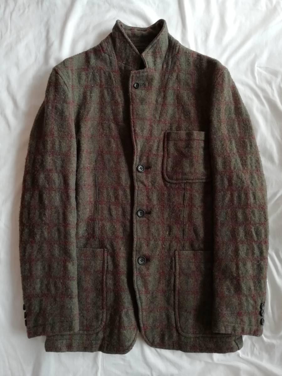 comme des garcons homme 縮絨ウール ネップ ツイード 木製ボタン ジャケット S AD2004 コムデギャルソンオム ヴィンテージ アーカイブ初期