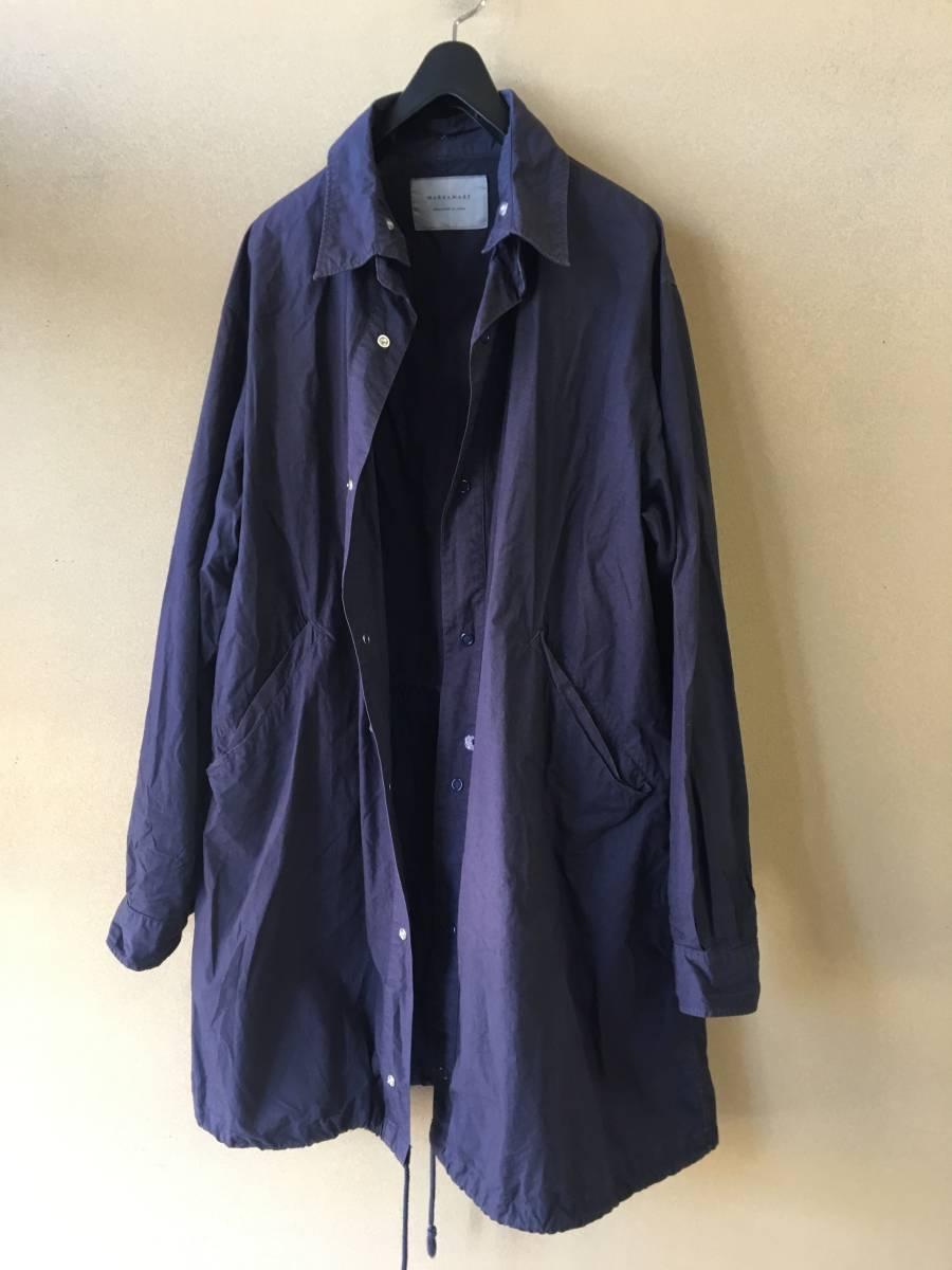 【MARKAWARE/マーカウェア】Mods Coat Big Silhouette Shirt size2 ALL COTTON モッズコート ビッグシルエット シャツ 衿取り外し可能