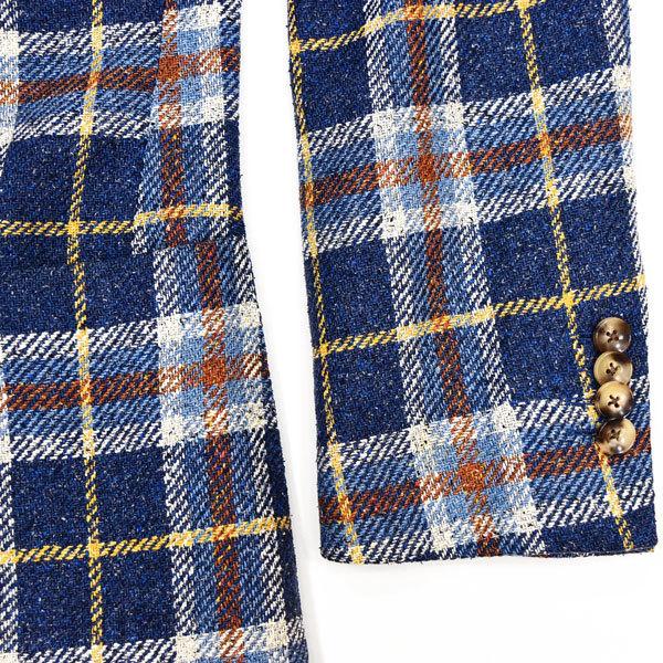 驚愕のシルク100%◎!!!「LARDINI/ラルディーニ」定価15万 最高級 贅を極めたシルクツイード素材を使用した!大人の英国調◎ ジャケット 46_画像6