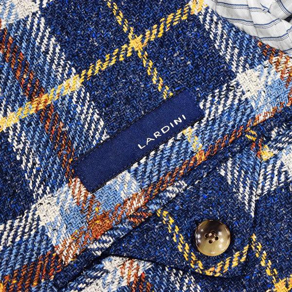 驚愕のシルク100%◎!!!「LARDINI/ラルディーニ」定価15万 最高級 贅を極めたシルクツイード素材を使用した!大人の英国調◎ ジャケット 46_画像8