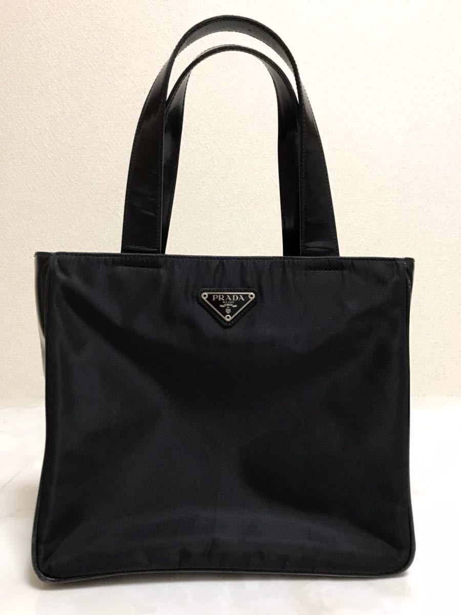PRADA プラダ トートバッグ ハンドバッグ ブラック ナイロントートバッグ レザーハンドル 高級ブランド品 黒色 白タグ ナイロン 本革 美品