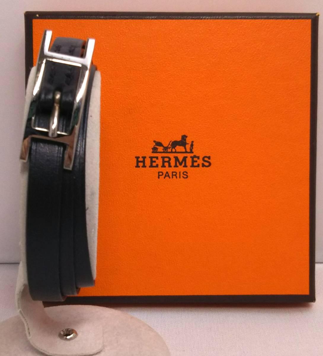 【即決】エルメス HERMES アピ3 チョーカー ブレスレット バングル レザー 黒 シルバー ?E_画像1