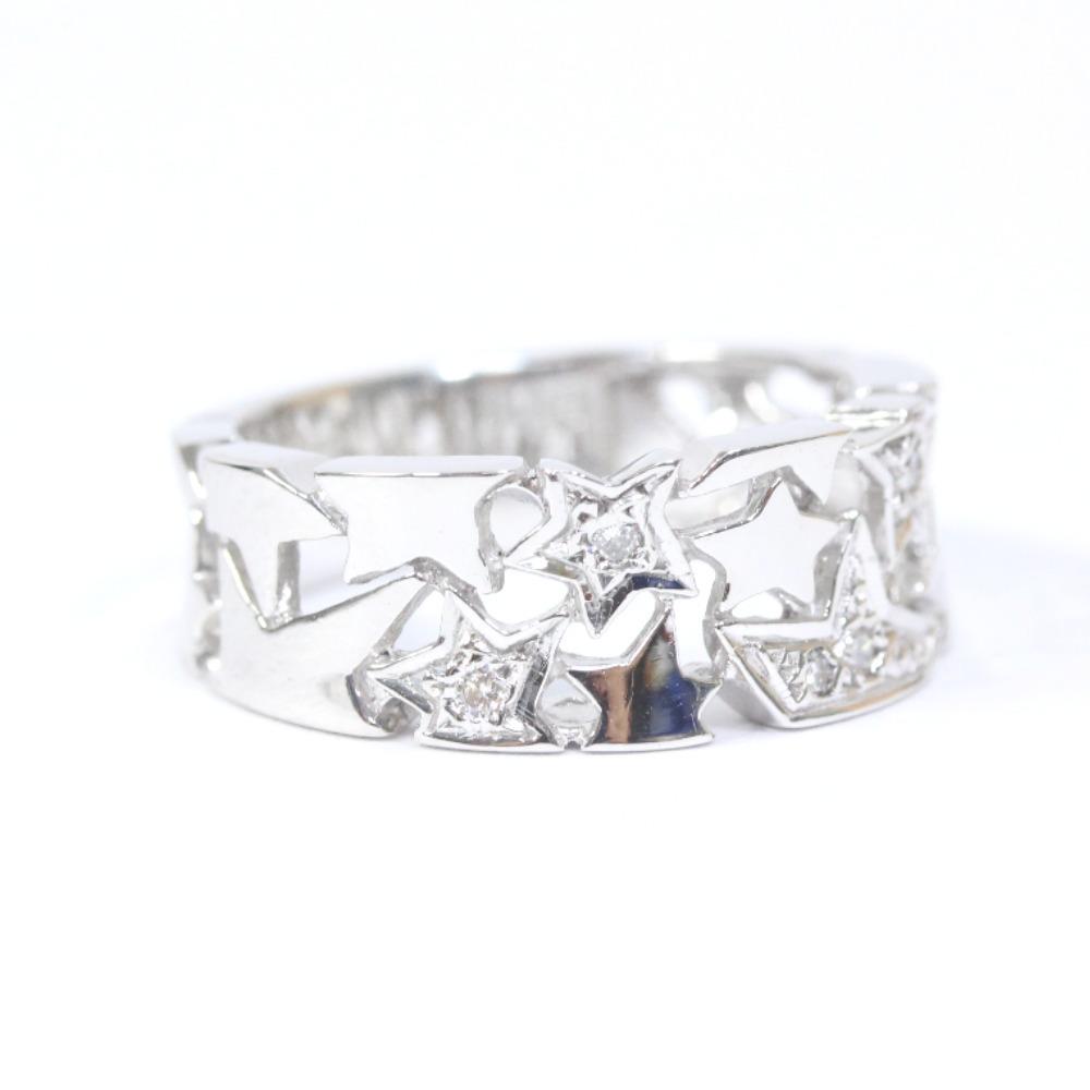 即決 スタージュエリー スター リング・指輪 レディース K18ホワイトゴールド ダイヤモンド ジュエリー 8.5号 シルバー_画像1