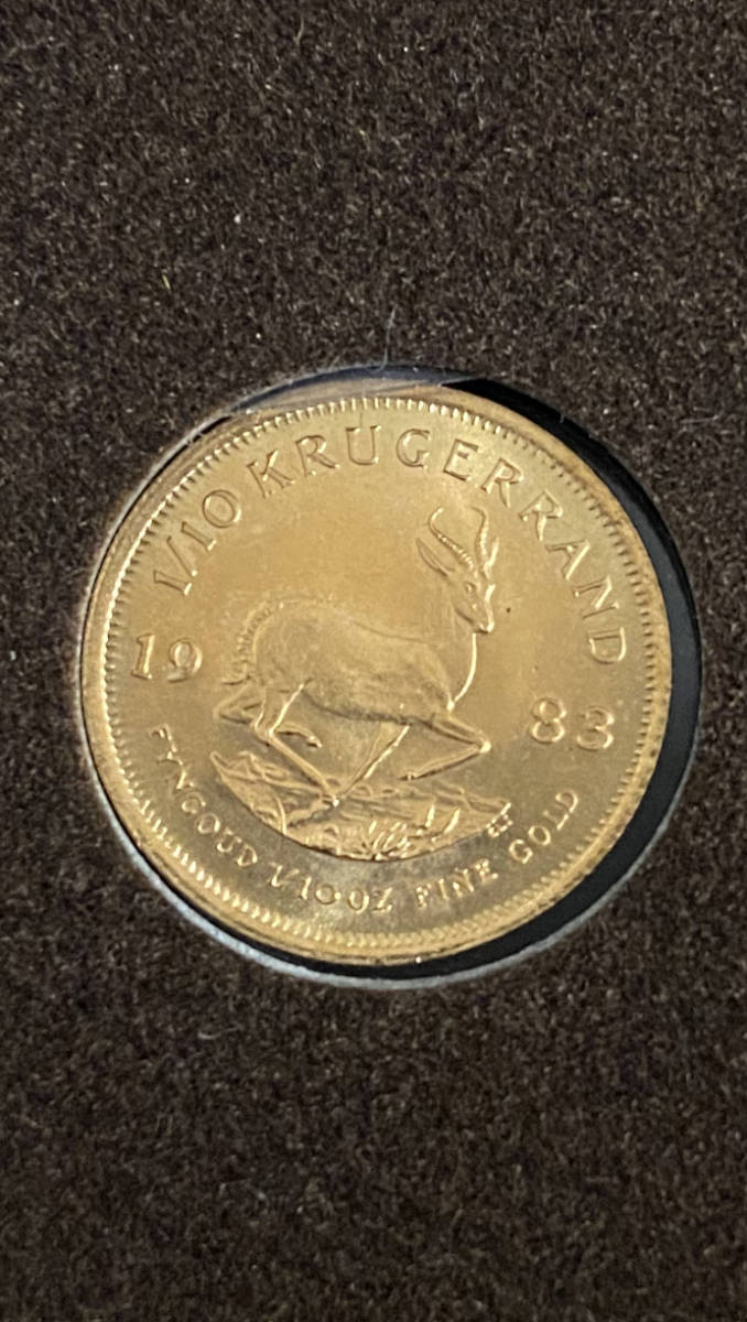 南アフリカ 1983年 クルーガーランド金貨 1/10オンス K22 本物保証_画像7