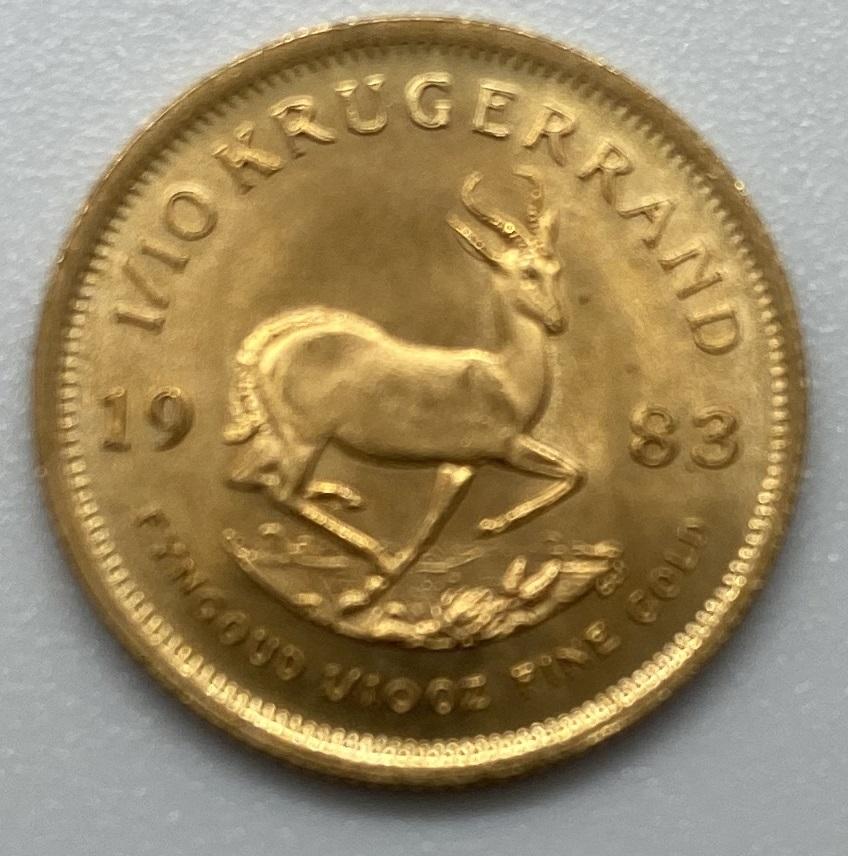 南アフリカ 1983年 クルーガーランド金貨 1/10オンス K22 本物保証_画像2
