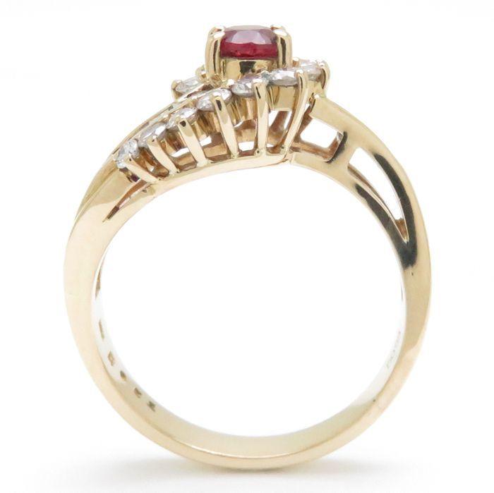 リング K18YG ルビー0.51ct ダイヤモンド0.55ct 12.5号 18金イエローゴールド 指輪 レディース ジュエリー /63760 【中古】_画像4