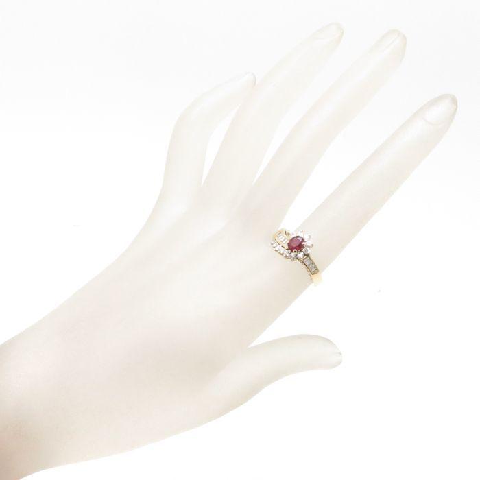 リング K18YG ルビー0.51ct ダイヤモンド0.55ct 12.5号 18金イエローゴールド 指輪 レディース ジュエリー /63760 【中古】_画像2