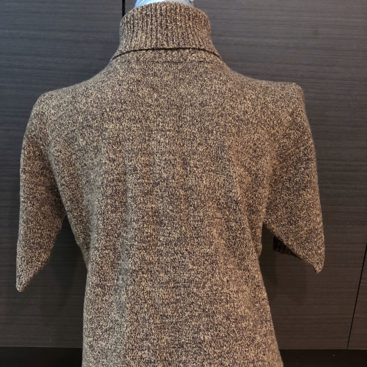 半袖ニット★LLサイズ★茶色★毛100%★ハイネック★セーター