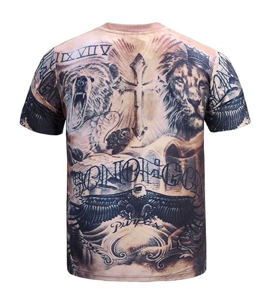 欧米風 タトゥー 刺青 どっきり 筋肉 Tシャツ コスプレ メンズ (XL)