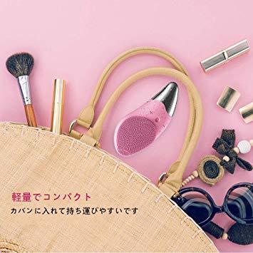 ピンク 洗顔ブラシ 電動 音波 洗顔器 スキンケア洗顔ブラシ フェイスブラシ 洗顔とマッサージ両立 43℃加熱_画像6