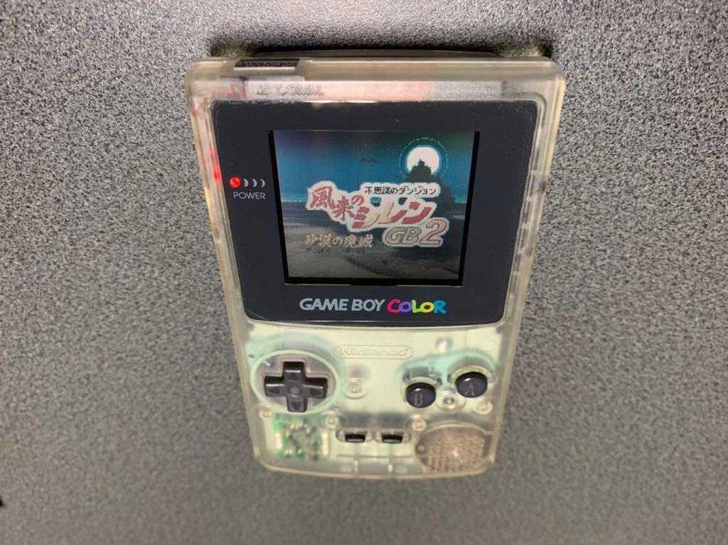 ゲームボーイカラー クリア 動作確認済 ニンテンドー ゲームボーイ 本体 スケルトン 任天堂 ソフト5本セット_画像1