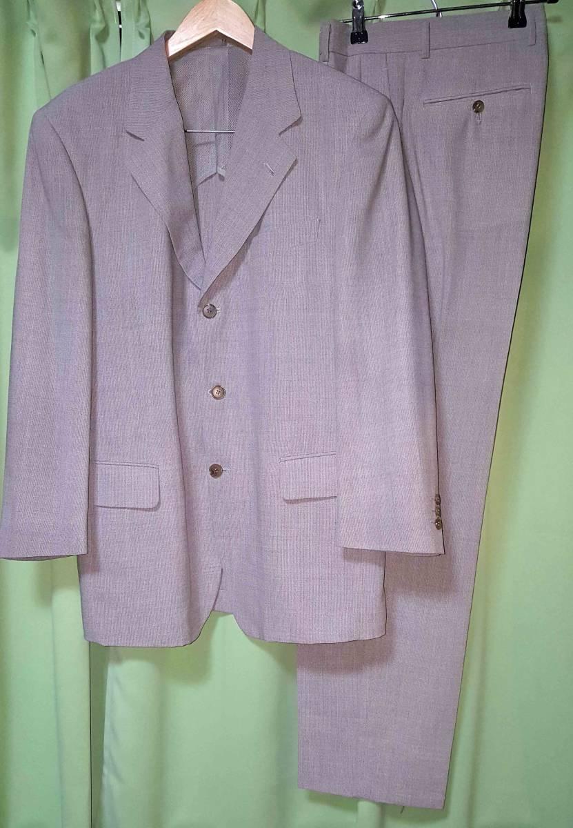 シングルスーツ 3つ釦 A5 M 毛55% ポリ45% グレー 高級 GIORGINI ツータック 刺繍アリ 日本製