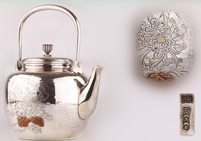 天賞堂造 竹菊嵌銅楓葉図純銀湯沸 銀瓶 共箱