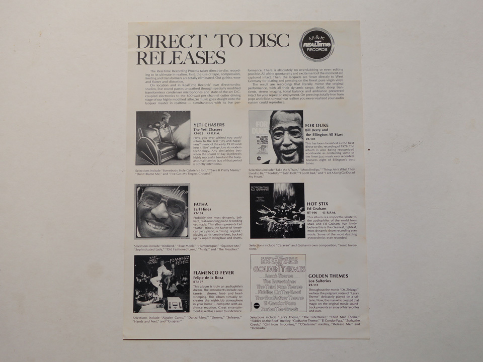 ドイツ製の超高音質盤 長岡鉄男絶賛のM&K Realtime(フラメンコ・フィーバーのレーベル)/ デジタル録音 / LImited Edition / RT-204_画像4