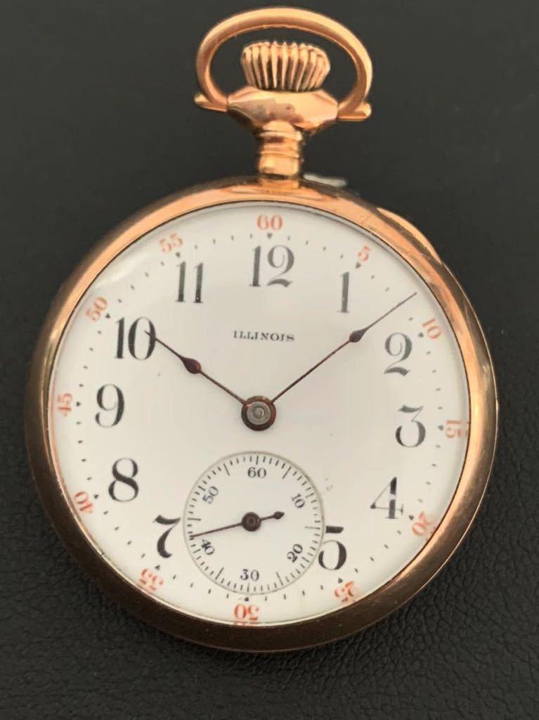 【美品】1907年代 イリノイ ILLINOI 懐中時計 ポケット ウォッチ 手巻き 鉄道時計 希少 12s 直徑32.5mm 重さ27g 11石 アンティーク