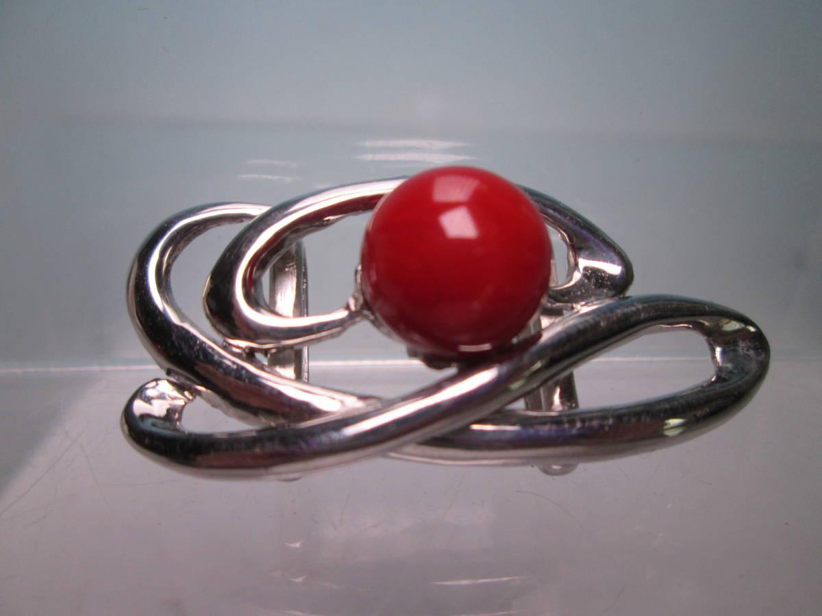 ☆血赤珊瑚玉 1,1cm のデザイン帯留め 12,13g_画像1