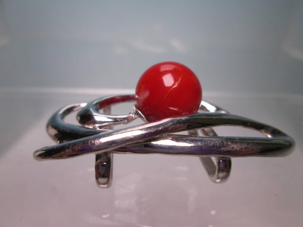 ☆血赤珊瑚玉 1,1cm のデザイン帯留め 12,13g_画像2