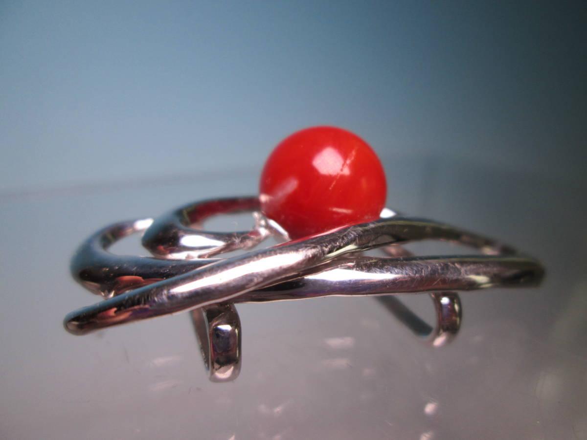 ☆血赤珊瑚玉 1,1cm のデザイン帯留め 12,13g_画像3