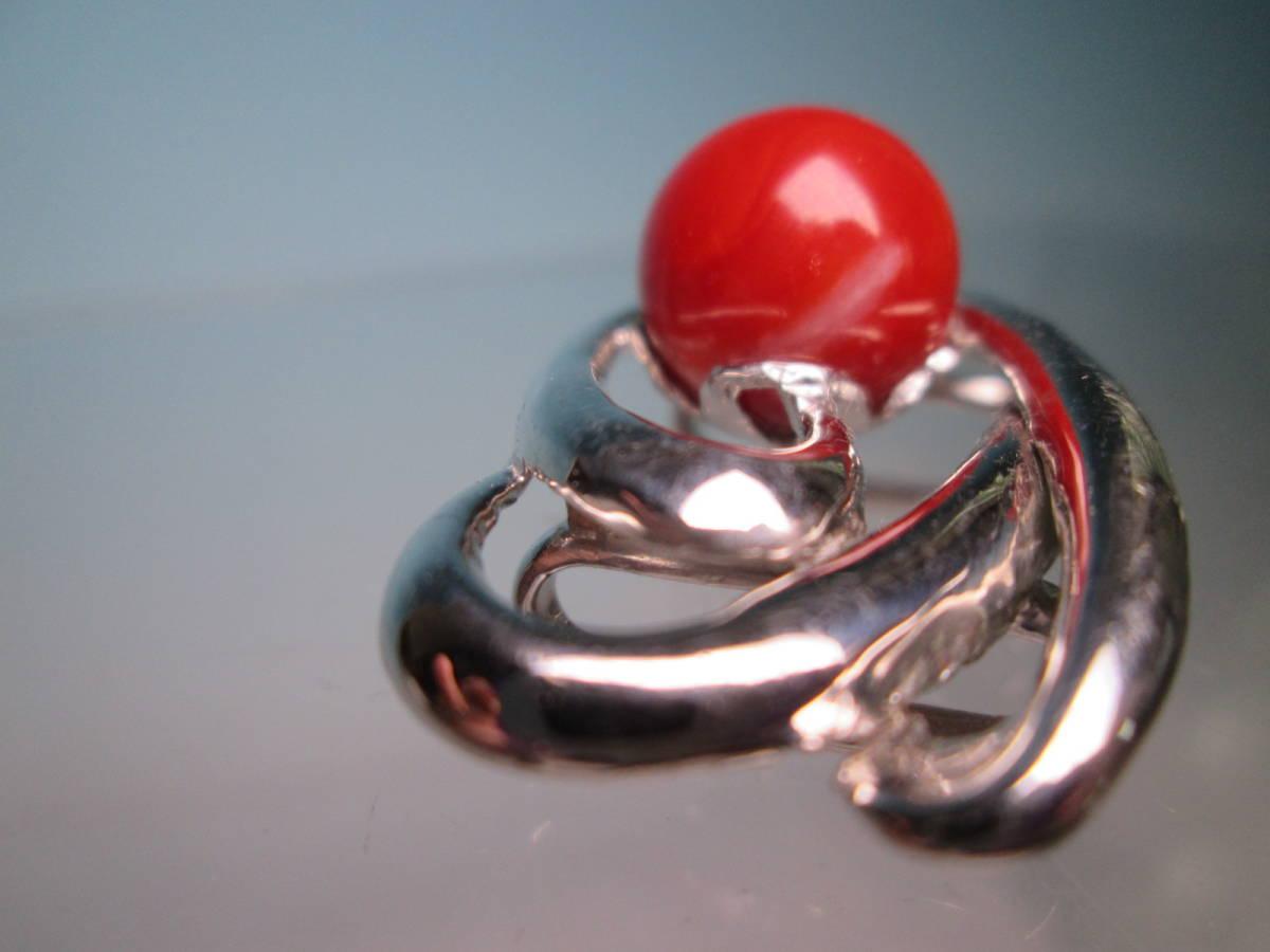 ☆血赤珊瑚玉 1,1cm のデザイン帯留め 12,13g_画像4