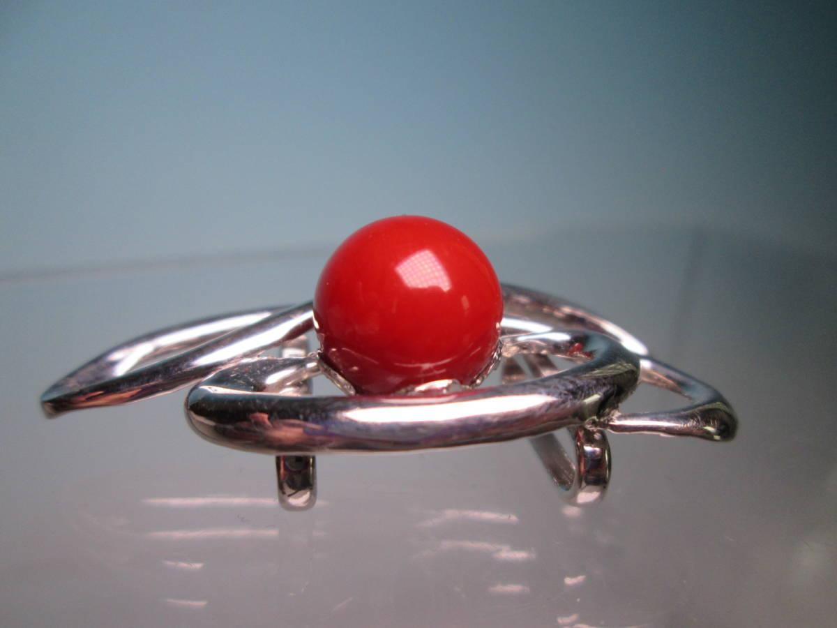 ☆血赤珊瑚玉 1,1cm のデザイン帯留め 12,13g_画像5