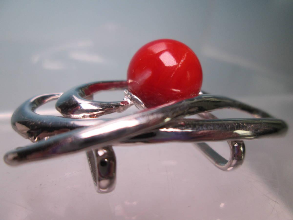 ☆血赤珊瑚玉 1,1cm のデザイン帯留め 12,13g_画像7