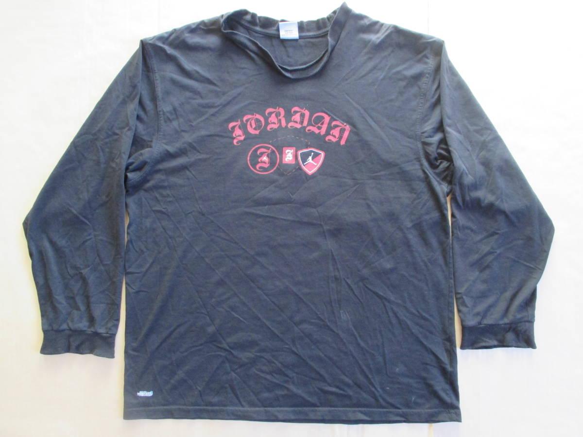 MICHAEL JORDAN ナイキ 長袖 ロゴ プリント Tシャツ 黒 XL 身幅59cm NIKE マイケル・ジョーダン 七分袖 カットソー ロンT_腹部汚れ、襟、袖、裾にヨレ、使用感あり