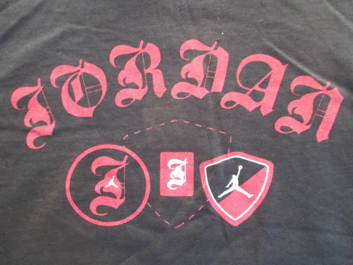 MICHAEL JORDAN ナイキ 長袖 ロゴ プリント Tシャツ 黒 XL 身幅59cm NIKE マイケル・ジョーダン 七分袖 カットソー ロンT_プリントアップ