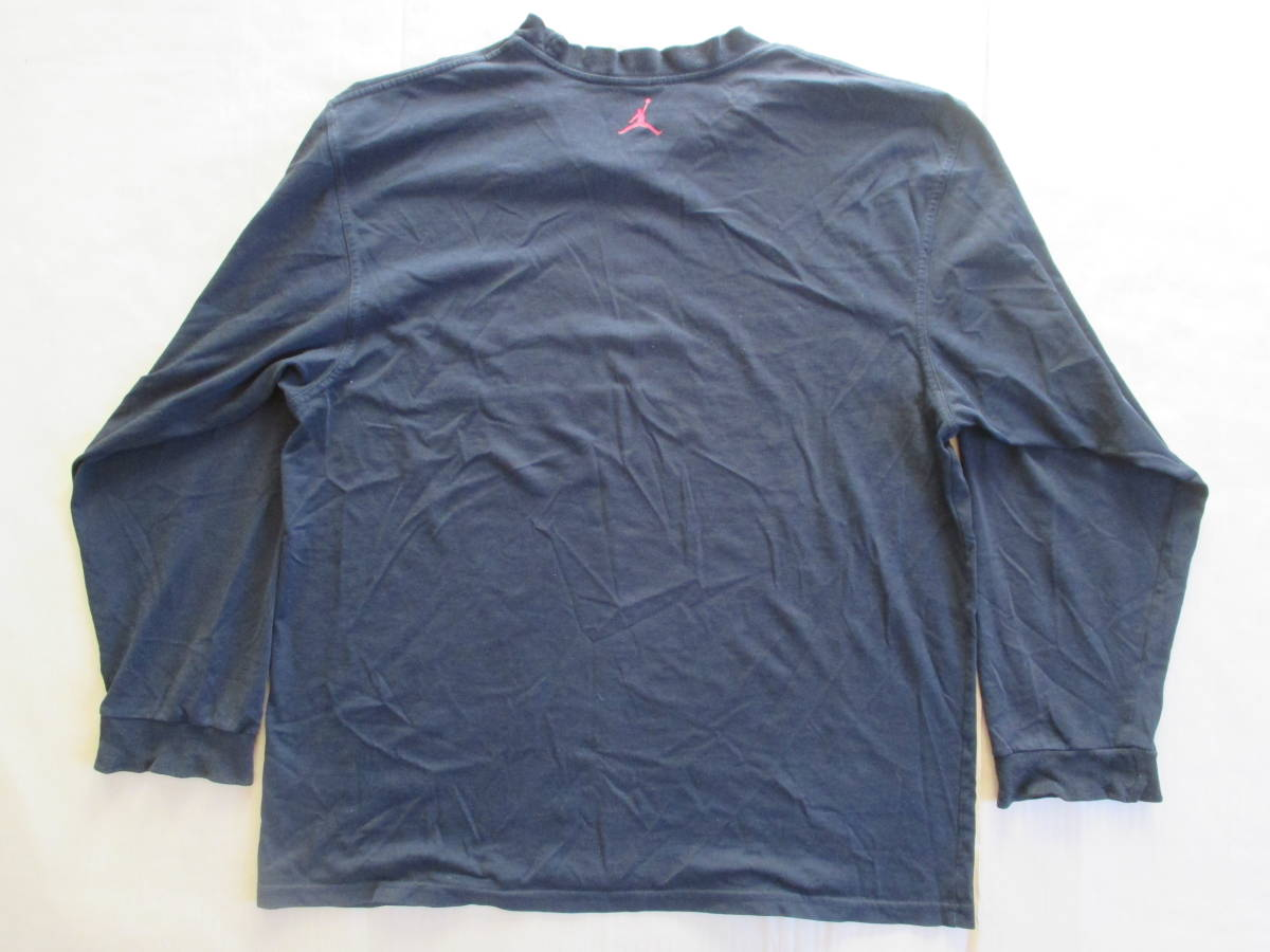 MICHAEL JORDAN ナイキ 長袖 ロゴ プリント Tシャツ 黒 XL 身幅59cm NIKE マイケル・ジョーダン 七分袖 カットソー ロンT_バックスタイル
