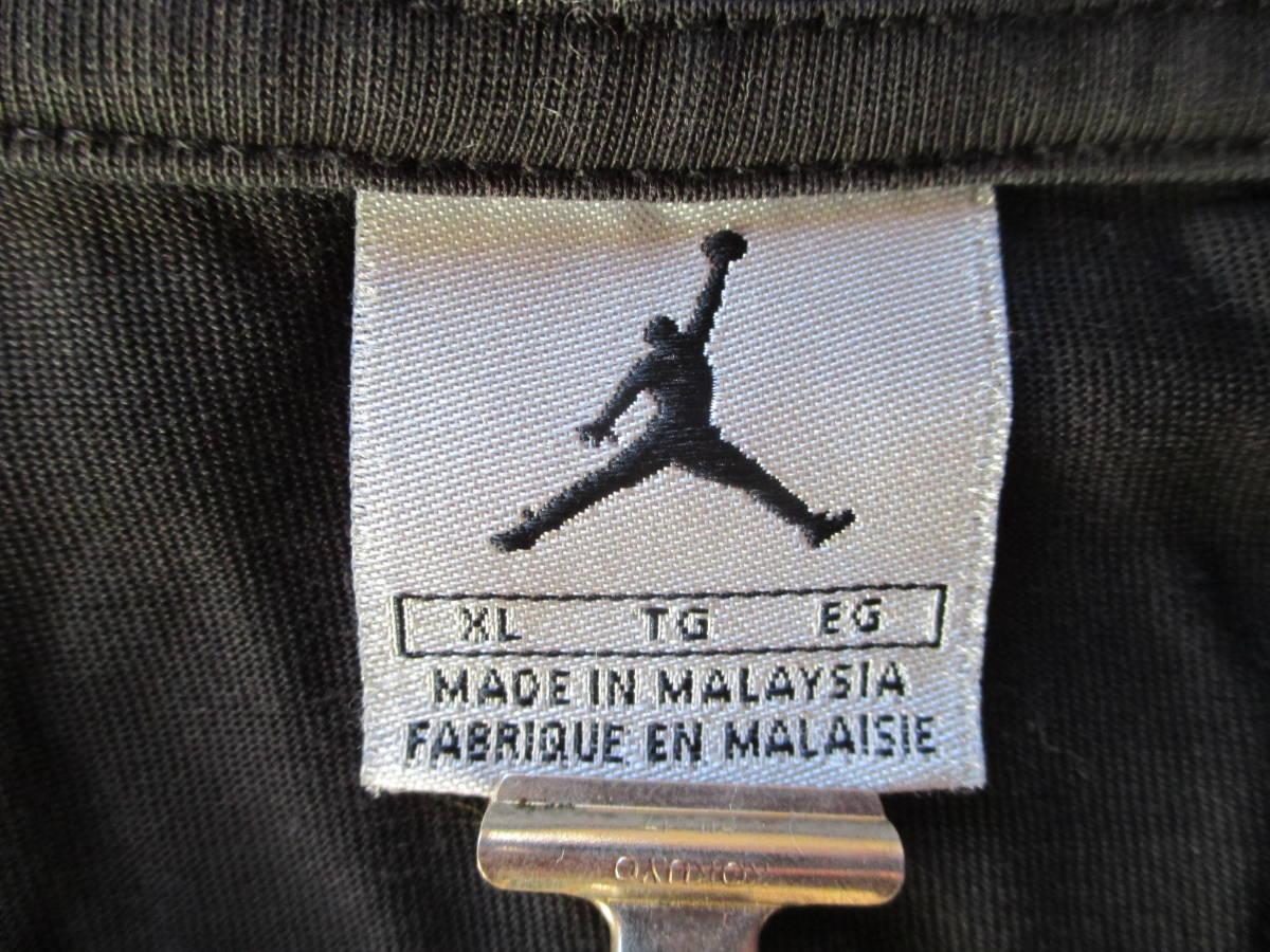 MICHAEL JORDAN ナイキ 長袖 ロゴ プリント Tシャツ 黒 XL 身幅59cm NIKE マイケル・ジョーダン 七分袖 カットソー ロンT_タグ